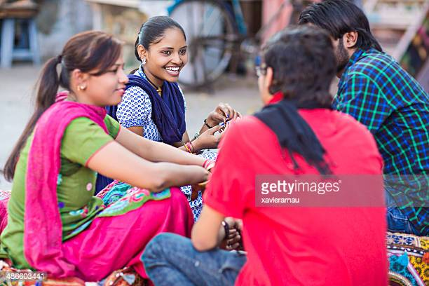 Group of four indian friends having fun together