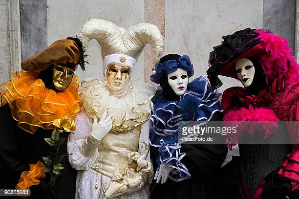 group of four masks at carnival in venice (xxl) - veneto stock pictures, royalty-free photos & images