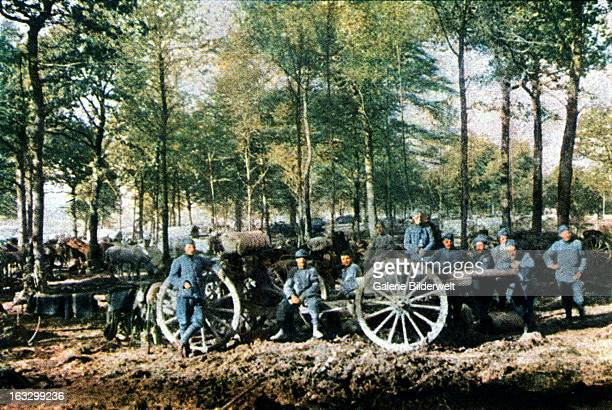 A group of French artillerymen with 75 mm guns during the battle of Verdun September 1916 Western Front World War I France Autochrome Lumière Photo...