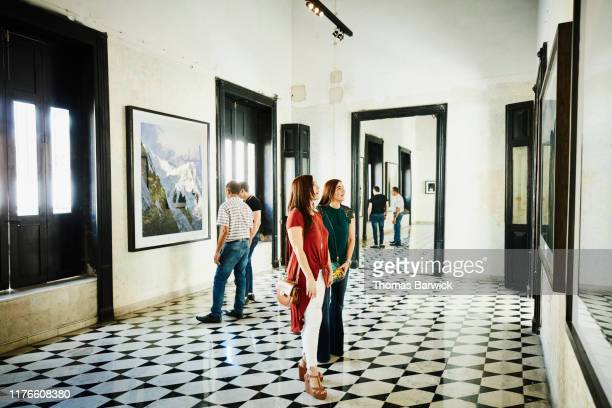 group of friends admiring artwork in art gallery - art gallery stock pictures, royalty-free photos & images