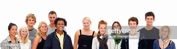 Gruppe von Freunden auf weißem Hintergrund