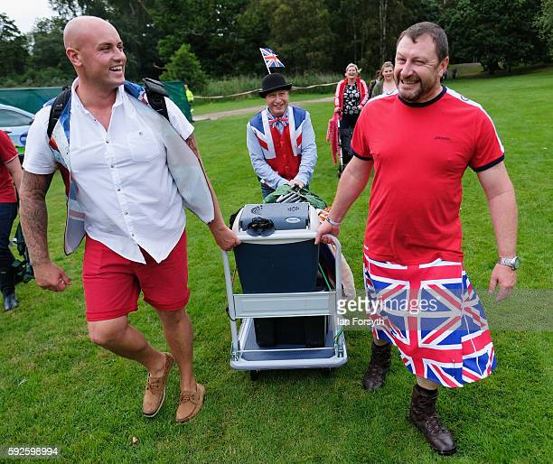 A group of friends arrive at the annual classical Proms Spectacular concert held on the north lawn of Castle Howard on August 20 2016 in York England...
