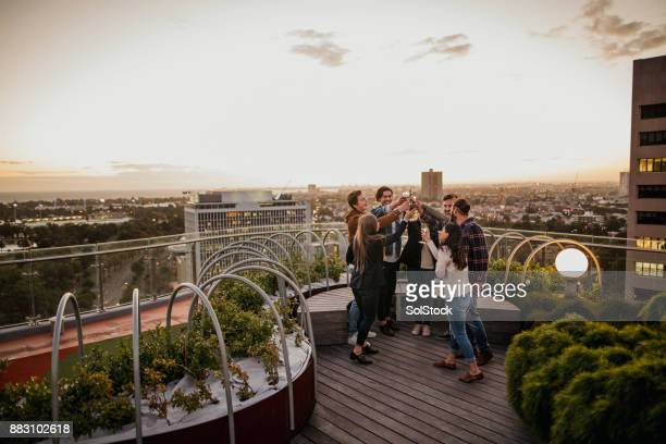 Group of Friends at a Rooftop Party