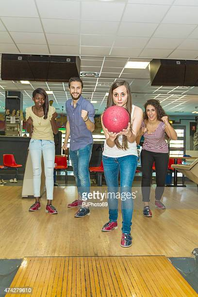 group of friends at bowling - pjphoto69 stock pictures, royalty-free photos & images