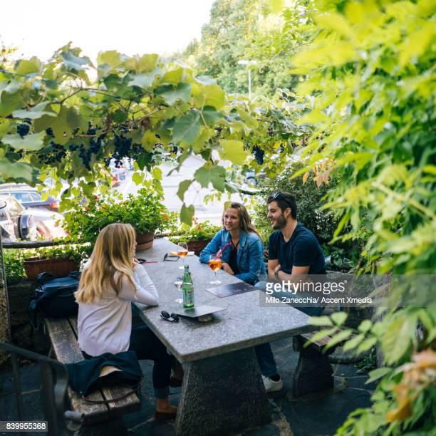 group of friends at restaurant under grape vines - スイス ルガーノ ストックフォトと画像