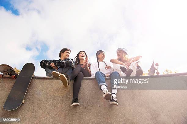 Group of friends at skatepark