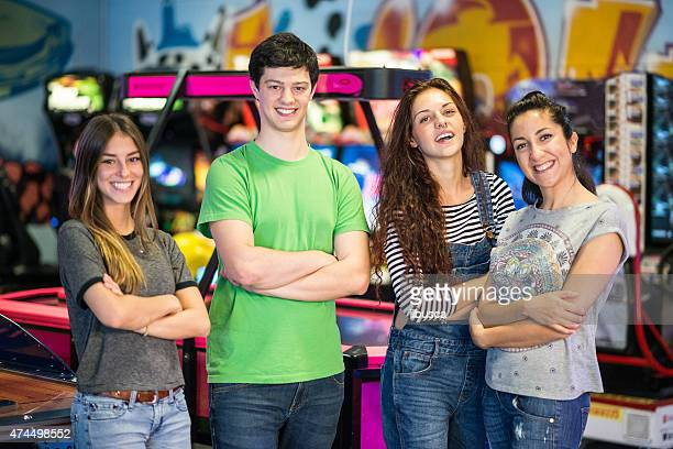 Group of friends at the amusement arcade