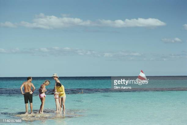 Group of friends at the beach on Harbour Island, Bahamas, March 1973.