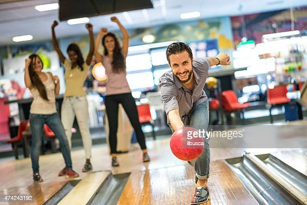 Group of friends at the bowling