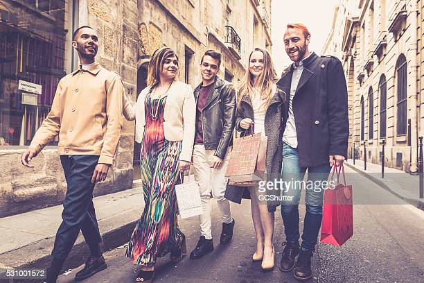 Group of friends at the shopping district in Paris