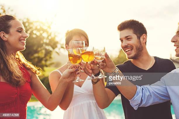 Gruppe von Freunden feiern Anstoßen mit Wein