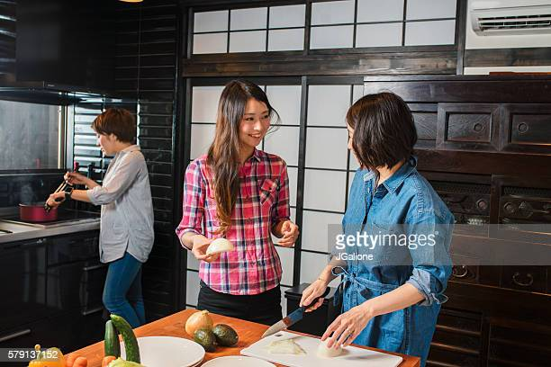 Group of friends cooking together