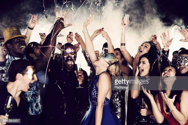 group of friends dancing and having fun together - party stock pictures, royalty-free photos & images