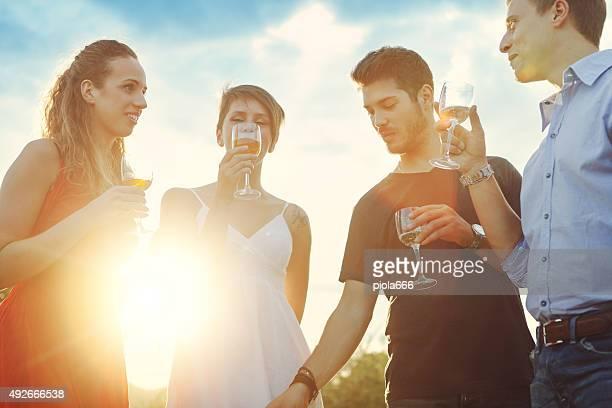 Groupe d'amis boire du vin à la célébration rassemblement