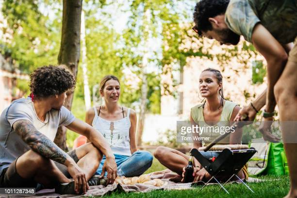 group of friends enjoying bbq together by canal - snag tree stock pictures, royalty-free photos & images