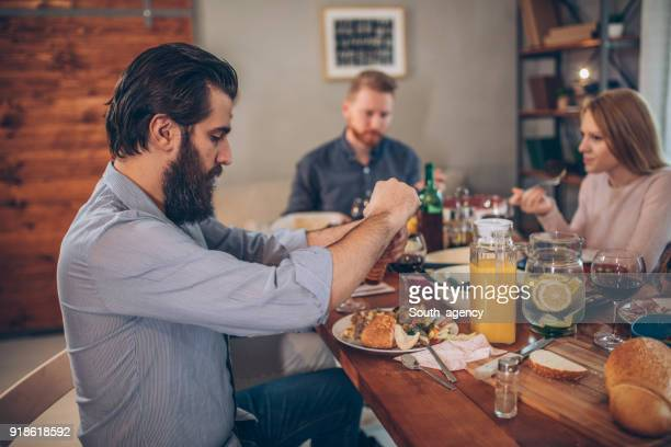 Group of friends enjoying lunch together