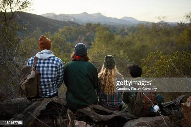 group of friends enjoying the view during a hike together - simple living stock pictures, royalty-free photos & images