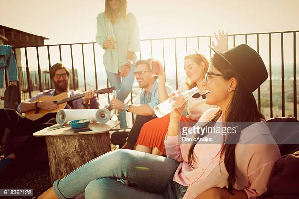 group of friends enjoying their own party