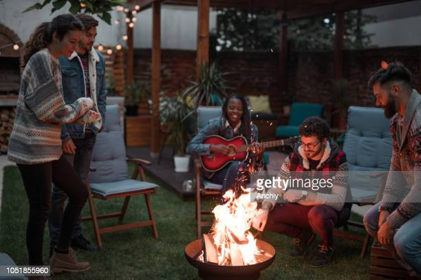 group of friends gathered around a fire pit - fire pit stock pictures, royalty-free photos & images