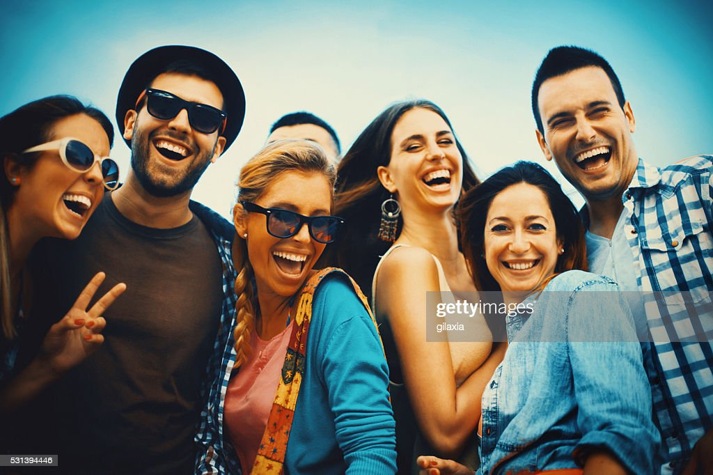 Group of friends hanging out : Stock Photo