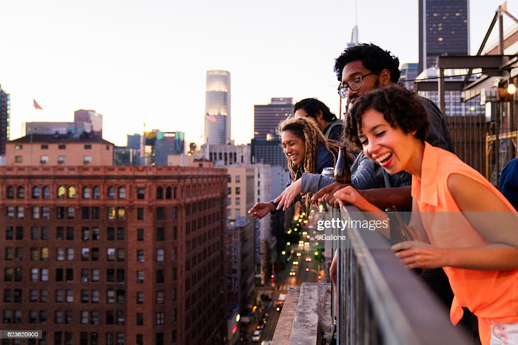 Group of friends hanging out together : Stock Photo
