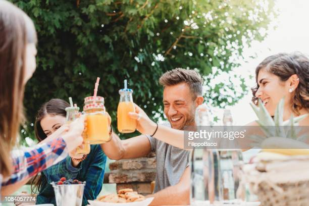 group of friends having a break in the countryside together drinking juices - the brunch stock pictures, royalty-free photos & images