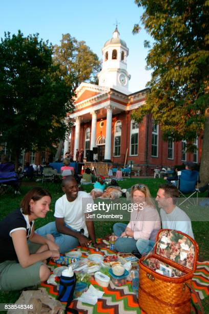 A group of friends having a picnic watching the Bluemont Summer Concert on the lawn at Old Loudoun County Courthouse