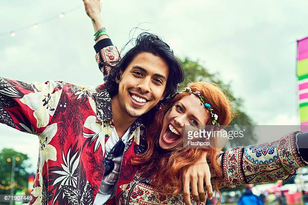 group of friends having fun at a music festival - festival goer stock pictures, royalty-free photos & images