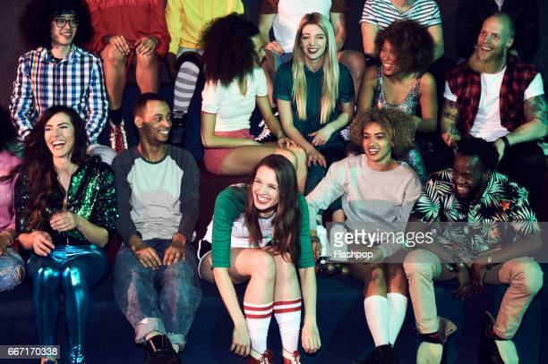 group of friends having fun on evening out - audience stock pictures, royalty-free photos & images