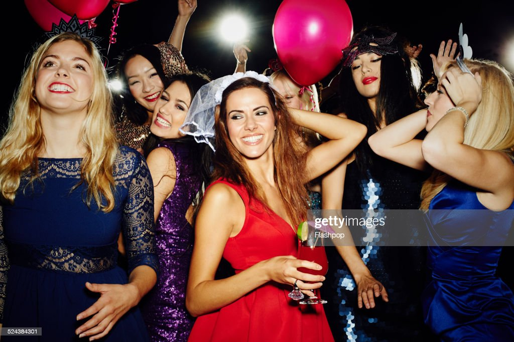 Group of friends having fun on Hen night out : Stock Photo