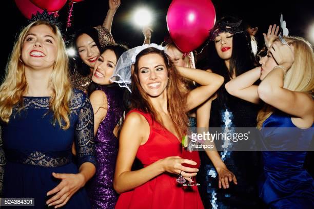 group of friends having fun on hen night out - addio al nubilato foto e immagini stock