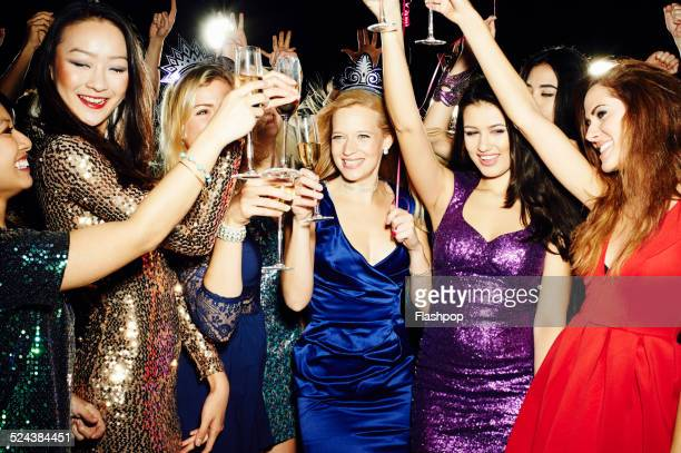 Group of friends having fun on night out