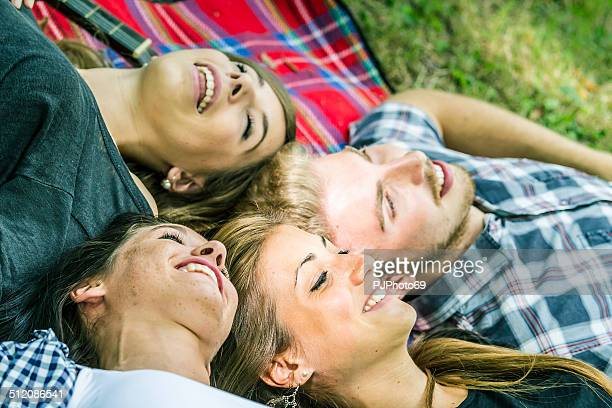 group of friends having relax time at camping - pjphoto69 stock pictures, royalty-free photos & images