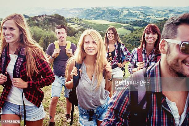 Group of Friends Hiking in Nature