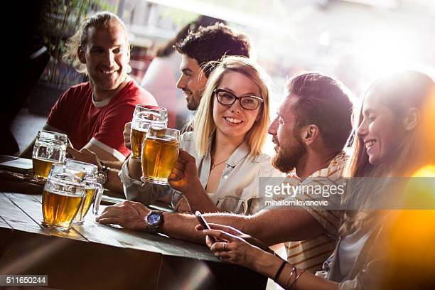 Group of friends in a bar