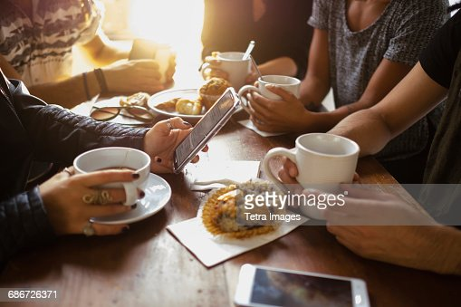 Group of friends in cafe