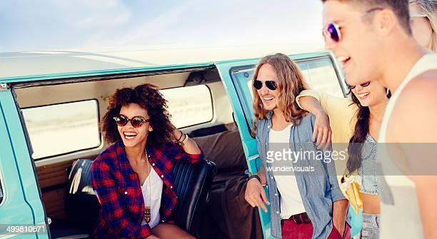Group of friends in camper van