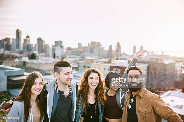 Group of Friends in Seattle City Setting
