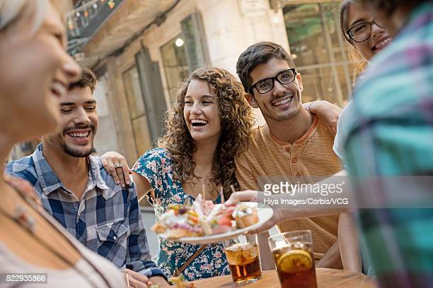 Group of friends in tapas bar