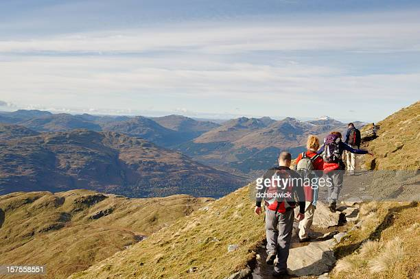 group of friends in the hills - scottish culture stock pictures, royalty-free photos & images