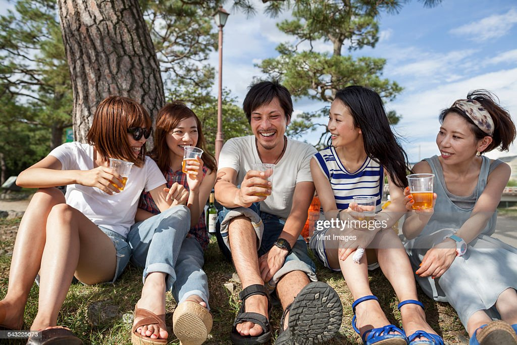 Group of friends in the park. : Stock Photo