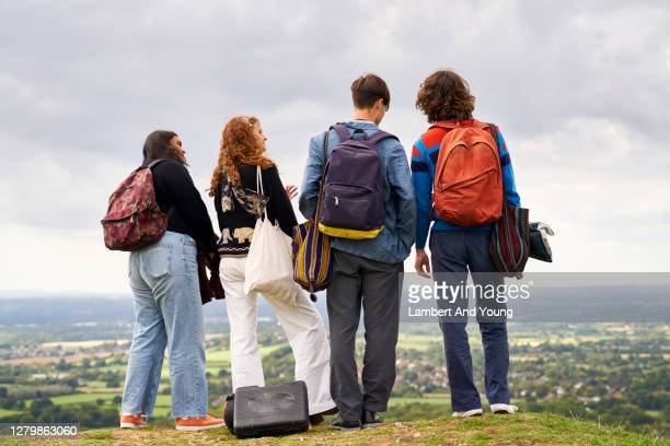 group of friends looking out at a beautiful scene in the countryside - young adult stock pictures, royalty-free photos & images