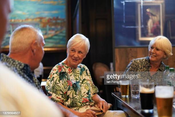 Group of friends meet up for a drink for the first time since lockdown began in the Mile Castle pub on Freedom Day on July 19, 2021 in Newcastle upon...