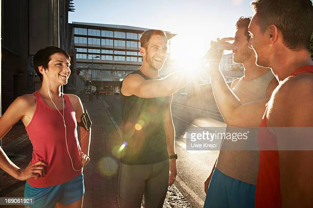 Group of friends meeting for evening run