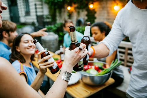 Group Of Friends Meeting Up For Barbecue Make A Toast - gettyimageskorea