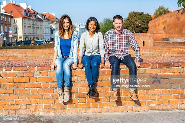 Group of friends on a city break in Warsaw