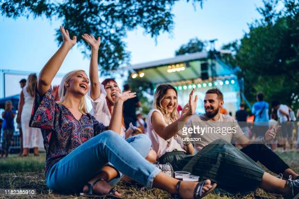group of friends on a music festival - concert stock pictures, royalty-free photos & images