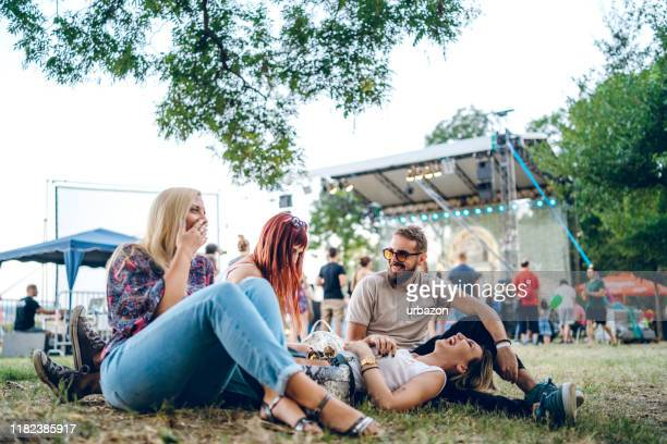group of friends on a music festival - music festival stock pictures, royalty-free photos & images