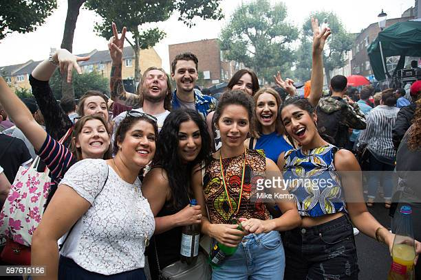 Group of friends on Sunday 28th August 2016 at the 50th Notting Hill Carnival in West London A celebration of West Indian / Caribbean culture and...