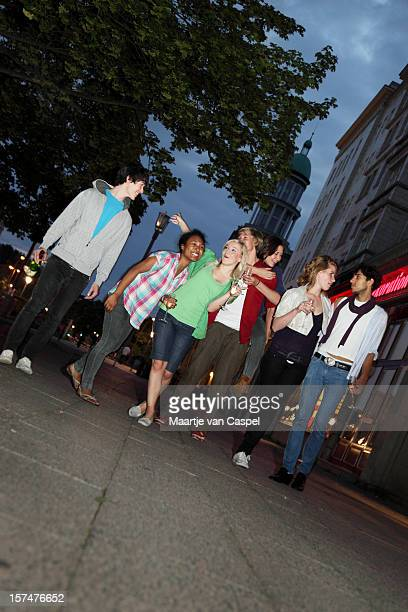 Group of friends on their way to a Club